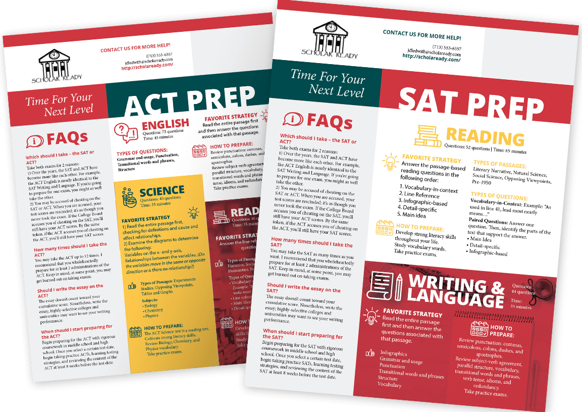 ACT and SAT Prep Guides for Students